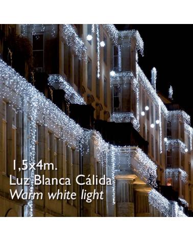 cortina de leds azul 3x0,9m efecto hielo, con 174 leds ip65 apta para exterior