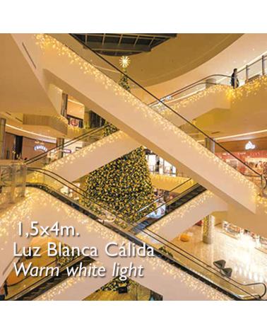 cortina de leds blanco cálido 4x1,5m efecto hielo, con 304 leds ip65 apta para exterior