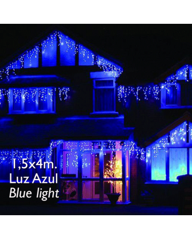 cortina de leds azul 4x1,5m efecto hielo, con 304 leds ip65 apta para exterior