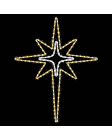 Doble estrella LED de 8 puntas 88x70cms IP44 apto para exteriores