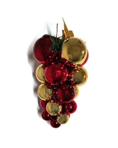Racimo de bolas navideñas brillantes en acabado granate y dorado