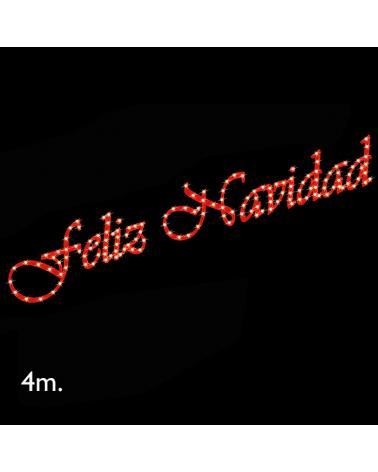 Cartel corpóreo rojo FELIZ NAVIDAD de 4 metros LEDs cálidos IP44 15W