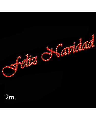 Cartel corpóreo rojo FELIZ NAVIDAD de 2 metros LEDs cálidos IP44 9W