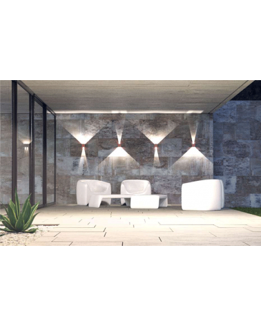 Aplique pared blanco de exterior 10cm Luz superior e inferior LED 6,8W Aluminio 4000k. 542 Lm.