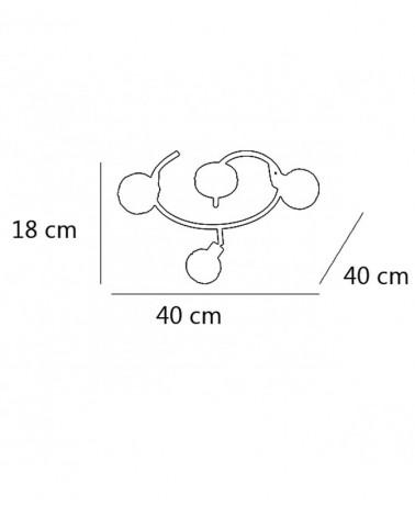 Plafón 3 focos 30cm color cromo difusor imitación diamante con marcos metálicos 40W G9