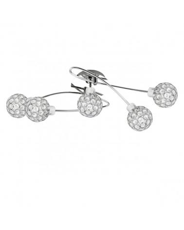 Plafón 5 focos 65cm color cromo difusor imitación diamante con marcos metálicos 40W G10