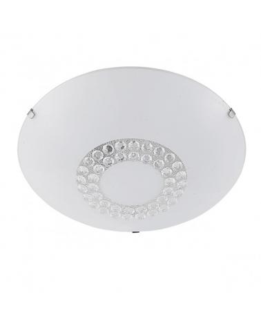Plafón de techo 30cm. cristal blanco con aro de cristales tallados 2 X 60W E-27
