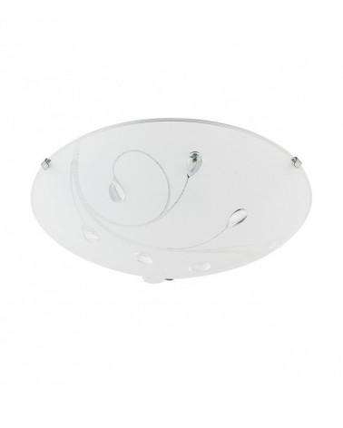 Plafón 30cm blanco cristal esmerilado con detalle de flores con gotas 2 x 60W E-27