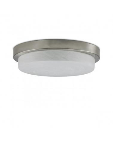 Plafón sencillo disco  de cristal mate 32cm base color cuero 3x60W E27