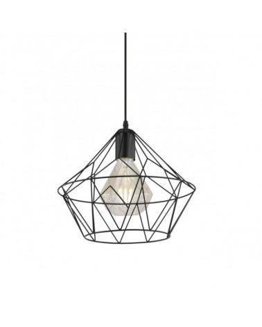 Lámpara de techo de techo 33cm. Negra estructura diamante metal  60W E-27