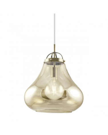 Lámpara de techo de techo de 35cm. Con pantalla en cristal con forma de campana y metal color cuero 1x40W E27