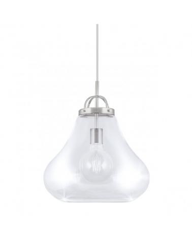 Lámpara de techo de techo de 35cm. Con pantalla en cristal con forma de campana y metal color níquel 1x40W E27