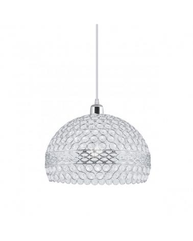 Lámpara de techo de techo de 31cm con pantalla en cristal semiesfera con marcos de metal en color cromo 1x60W E27