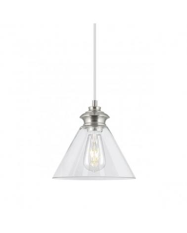 Lámpara de techo de techo de 27cm con pantalla en cristal con forma de campana y metal 1x40W E27