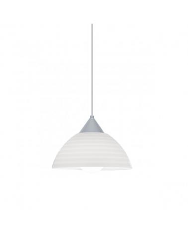 Lámpara de techo de techo de 25cm pantalla acrílico rallas horizontales soporte gris 1x60W E27