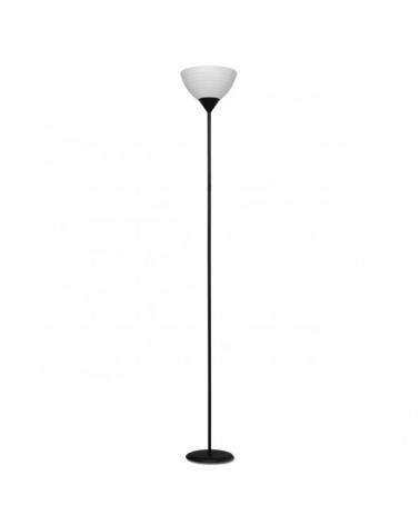 Lámpara de pie color negro 180cm con pantalla acrílico rallado 1 X 60W E-27
