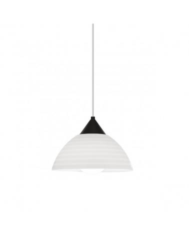 Lámpara de techo de techo de 25cm pantalla acrílico rallas horizontales soporte negro 1x60W E27
