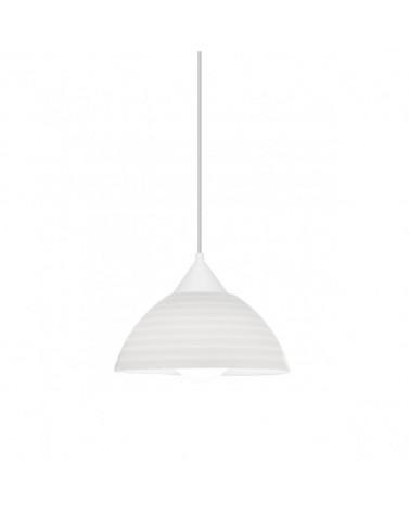 Lámpara de techo de techo de 25cm pantalla acrílico rallas horizontales soporte blanco 1x60W E27