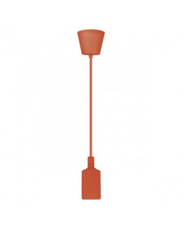 Pendel cilindro en silicona y acrílico color Naranja 60W E27