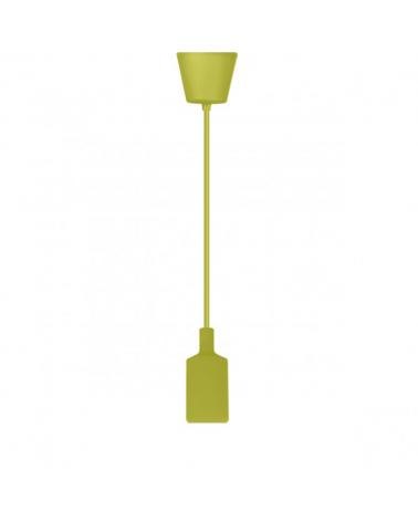 Pendel cilindro en silicona y acrílico color Pistacho 60W E27