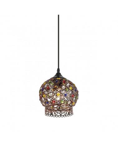Lámpara de techo 18 cm.  Acabado Cobre con cristales multicolor 60W E-27