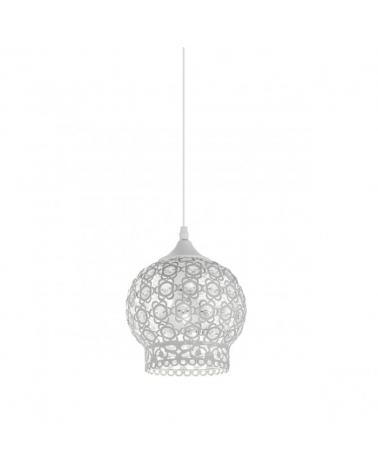 Lámpara de techo 18 cm.  Acabado blanco con cristales tipo diamante 60W E-27