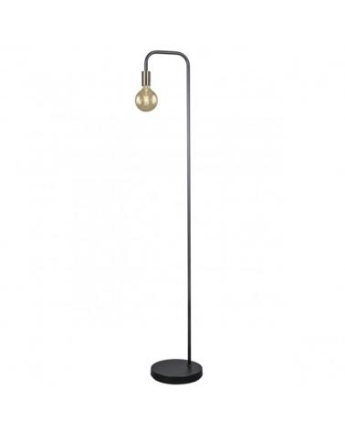 Lámpara de pie 155cm base redonda metal negro con portalámparas en cuero  1 X 60W E-27