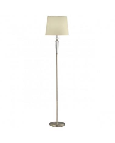 Lámpara de pie de 170 cm con nudos y cristal acabado cuero romo y pantalla de tela blanca  1 X 60W E-27