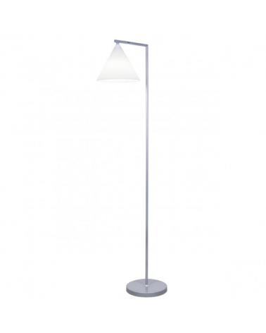 Lámpara de pie de 151cm con pantalla en acrílico blanco en forma cónica orientable acabado en níquel 1 X 60W E-27
