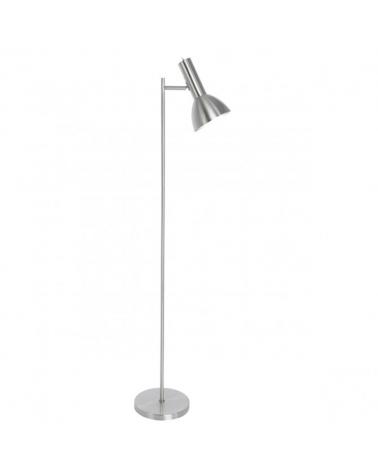 Lámpara de pie de 151cm en metal acabado níquel satinado foco abatible líneas rectas 1 X 60W E-27