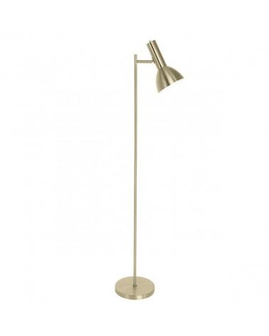Lámpara de pie de 151cm en metal acabado cuero foco abatible líneas rectas 1 X 60W E-27
