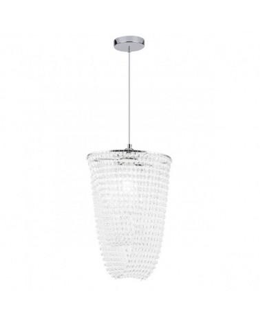 Lámpara de techo 45cm cadena con piezas en acrílico imitación cristal tallado y metal acabado cromo 1 X 60W E-27