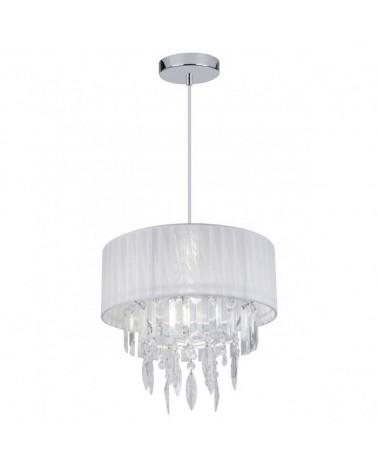 Lámpara de techo 35cm cadena con pantalla de tela con lagrimas en acrílico  y metal acabado cromo 1 X 60W E-27