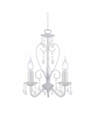 Lámpara de techo 50cm araña metal blanco con lágrimas en acrílico transparente 3 X 40W E-14
