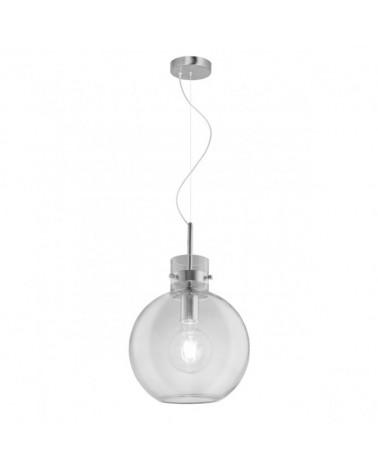 Lámpara de techo 25cm forma campana de cristal y portalámparas en cromo  1 X 60W E-27
