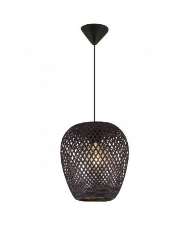 Lámpara de techo 29cm campana en ratán oval con portalámparas metal negro 1 X 60W E-27
