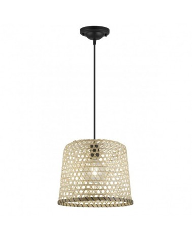 Lámpara de techo 27cm campana en bambú con portalámparas metal negro 1 X 60W E-27