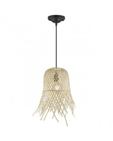 Lámpara de techo 21cm tipo campana en bambú  1 X 60W E-27
