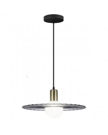 Lámpara de techo 36cm esfera blanca con radios en metal negro y portalámparas en cuero  1 X 40W G-9