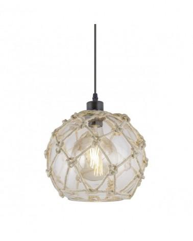 Lámpara de techo 28cm esfera en cristal con cuerda 1 X 60W E-27