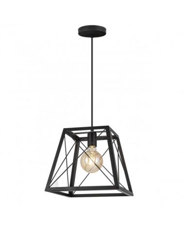 Lámpara de metal 29cm estructura metal negra cruzada E27