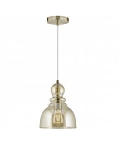 Lámpara de techo 27cm de cristal ámbar con gotas portalámparas en cuero forma de campana 1 X 60W E-27