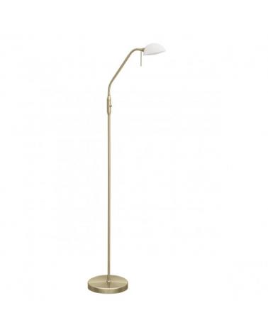 Lámpara de pie 150cm pantalla en cristal blanco orientable en acabado cuero 30W E14