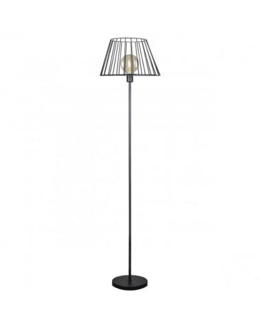 Lámpara de pie 160cm metal negro con pantalla cónica reja E27