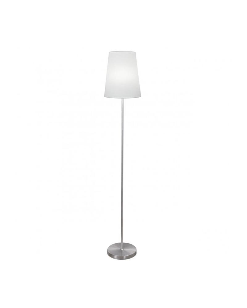 Lámpara de pie 155cm metal acabado níquel satinado con pantalla tela blanca E27