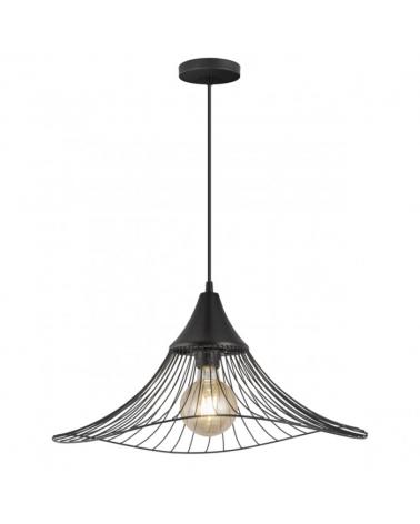 Lámpara de techo colgante 50cm pantalla ondulada metal negro reja E27