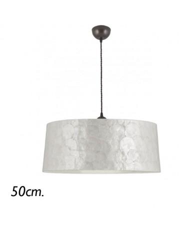 Lámpara de techo colgante 50cm pantalla de nácar cable trenzado E28