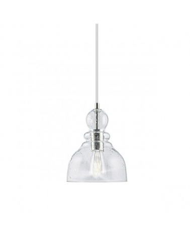 Lámpara de techo 27cm de cristal con gotas portalámparas en níquel satinado forma de campana 1 X 60W E-27