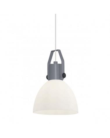 Lámpara de techo con pantalla blanca soporte gris 43cm estilo campana industrial 1 X 60W E-27