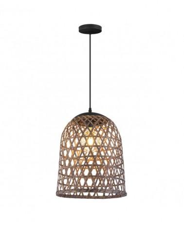 Lámpara de techo 45cm campana en ratán con portalámparas metal negro 1 X 60W E-27